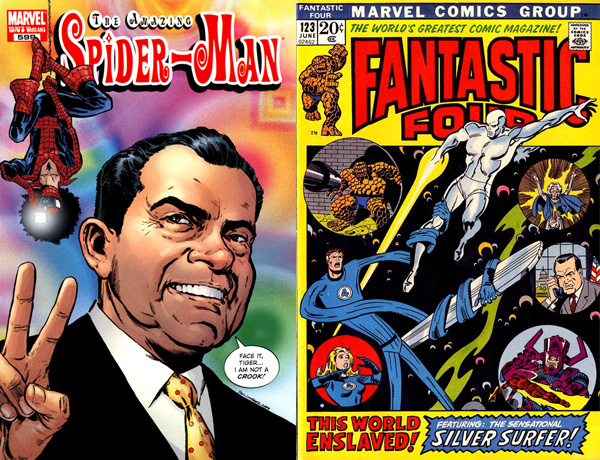 Nixon in Marvel comic books: on the covers of Amazing Spider-Man #599 (2009), art by Phil Jimenez; and Fantastic Four #123 (1972), art by Sal Buscema