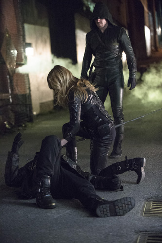 Badassery aftermath: Canary and Arrow (Stephen Amell). Photo: Cate Cameron/The CW