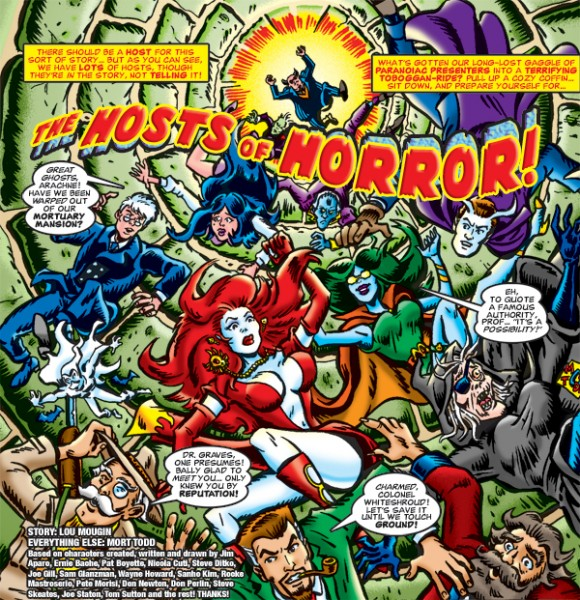 "Detail of splash page to ""The Hosts of Horror"" by Lou Mougin and Mort Todd."