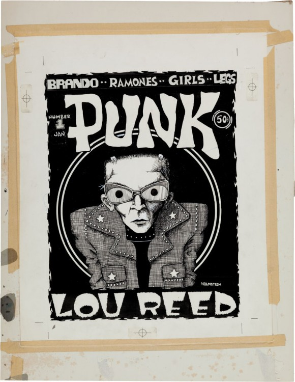 Original inked art of Lou Reed for Punk Magazine by John Holmstrom 1975.
