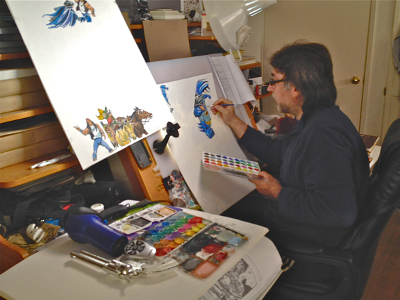 Ruben in his studio, working on a Batman '66 Shame story