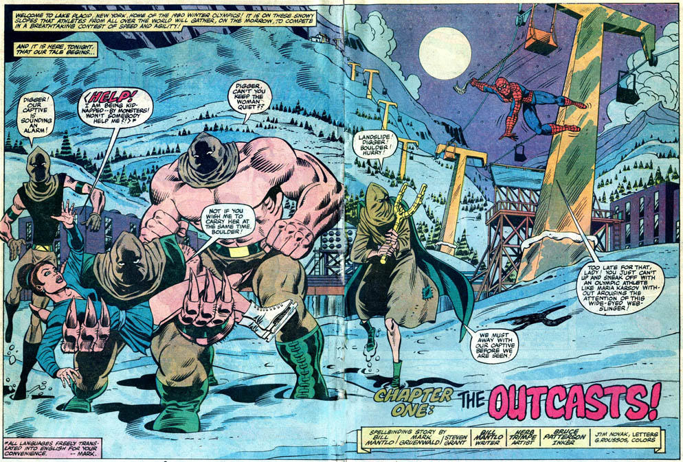 Double-page splash panel of MTE #25: co-plot by Mark Gruenwald, Steven Grant, and Bill Mantlo, script by Bill Mantlo; art by Herb Trimpe and Bruce Patterson; letters by Jim Novak