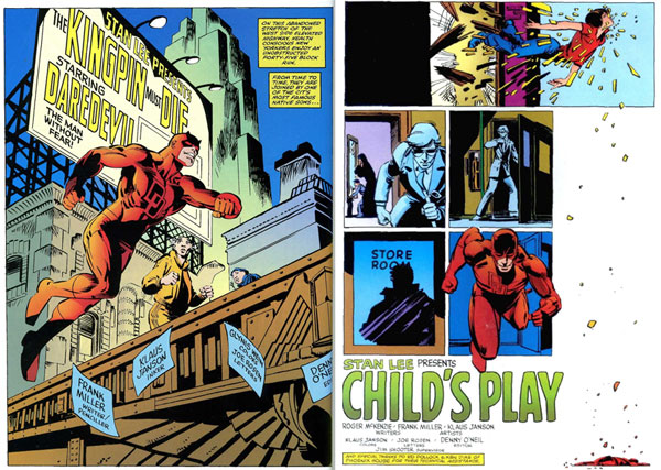 Left: from Daredevil #170 (1981), script and pencils by Frank Miller, inks by Klaus Janson Right: from Daredevil #183 (1982), script by Roger McKenzie, script and breakdowns by Frank Miller, finishes by Klaus Janson.