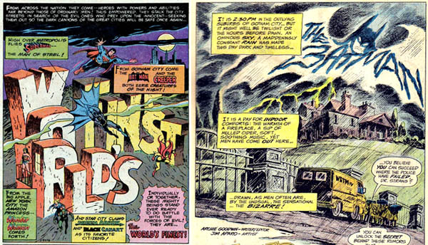 Left: from World's Finest Comics (1978), script by Jack C. Harris (?), art by George Tuska and Vince Colletta Right: from Detective Comics #438 (1973), script by Archie Goodwin, art by Jim Aparo.
