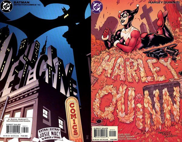 Left: from Detective Comics #765 (2002), art by John McCrea and James Hodgkins Right: from Harley Quinn #15 (2002), art by Terry Dodson and Rachel Dodson.