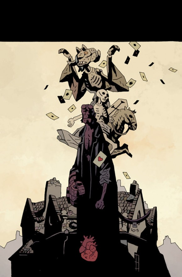 Unlettered cover to Hellboy in Hell #6: The Death Card, due out in May.