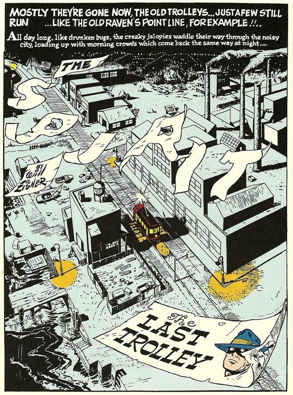 """""""The Last Trolley"""" (March 24, 1946), script by Will Eisner, art by Bob Palmer"""