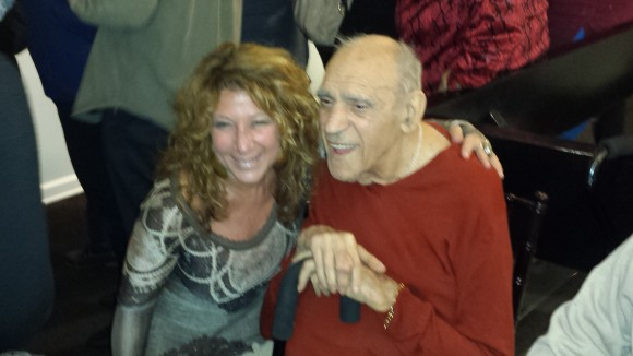 Society of Illustrators Director Anelle Miller with  Abe Vigoda.