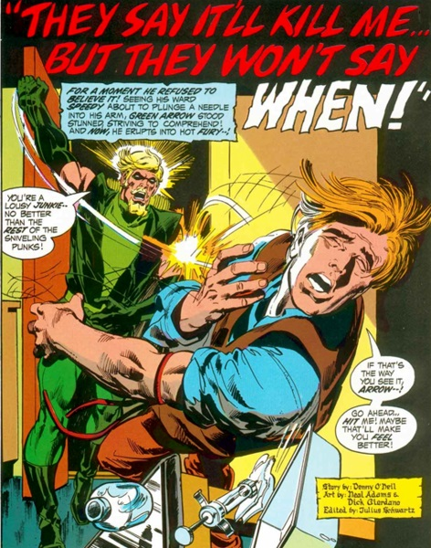 Green Arrow punches Speedy