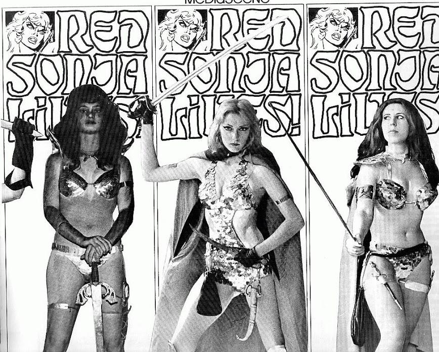 The Hyborian Players as various Red Sonjas.