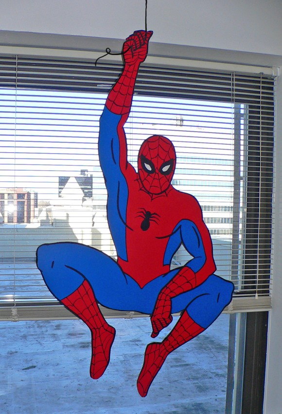 Spidey just hanging around J.J.'s office.