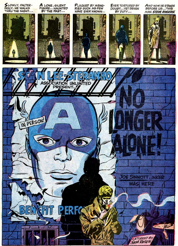 Captain America #110 (1969), script by Stan Lee, pencils and colors by Jim Steranko, inks by Joe Sinnott