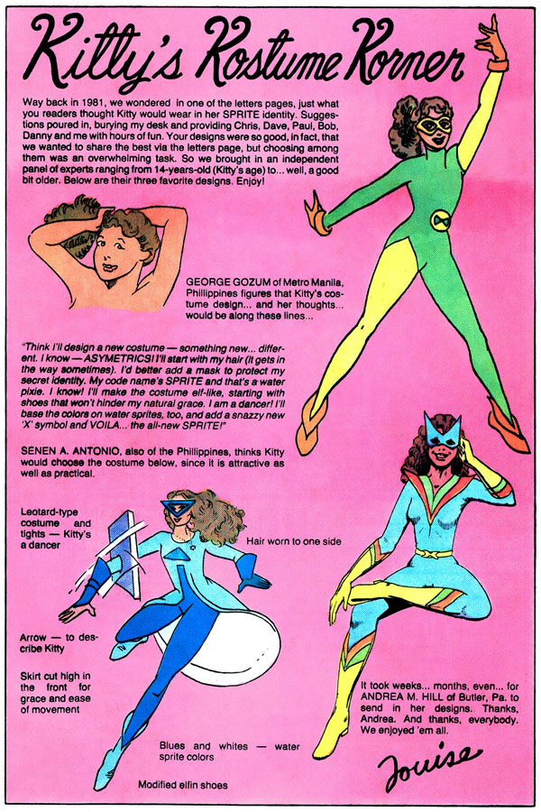 from Uncanny X-Men #168 (1983); script by Louise Jones;, art by George Gozum, Senen A. Antonio, and Andrea M. Hill