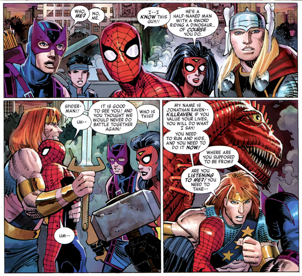 Avengers #4 (2010), script by Brian Michael Bendis, art by John Romita Jr. and Klaus Janson