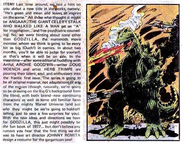 Godzilla Marvel Bullpen Bulletin