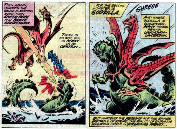 from Godzilla #4 (1977), art by Tom Sutton