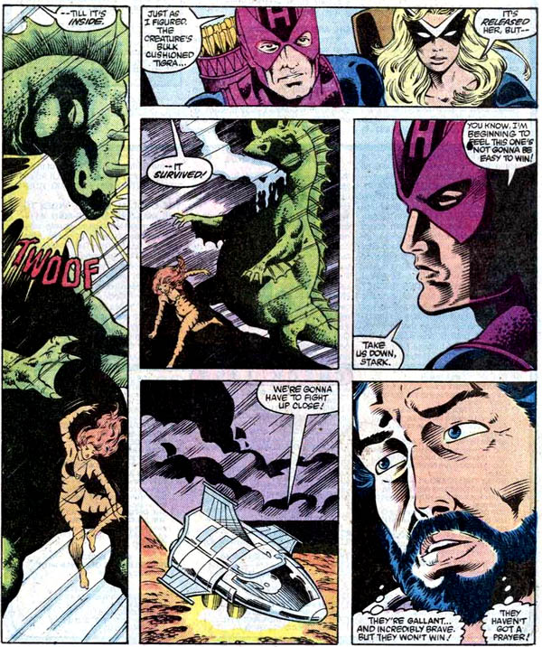 from Iron Man #193 (1985), script by Denny O'Neil, art by Luke McDonnell