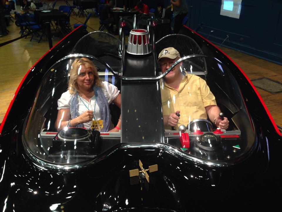 Christy Blanch and Mark Waid in Jeff Breden's Batmobile!