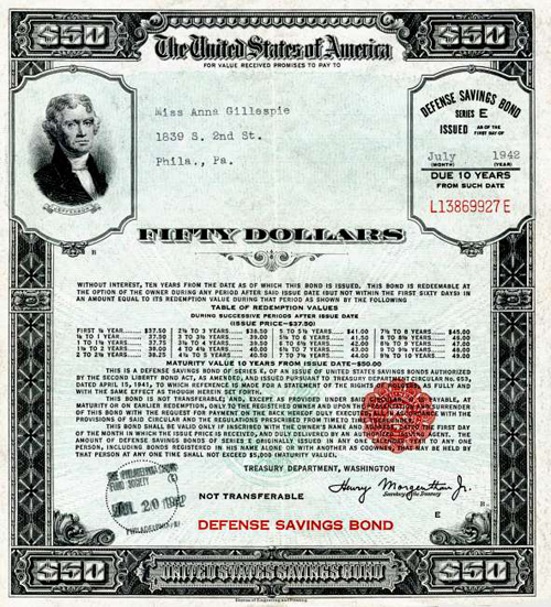 WWII war defense savings bond