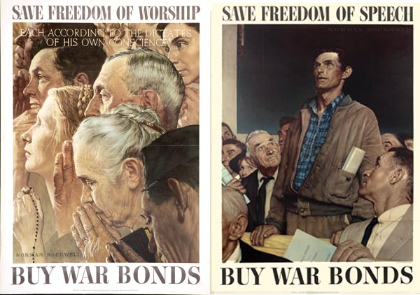 """Freedom of Worship"" and ""Freedom of Speech"" by Norman Rockwell"