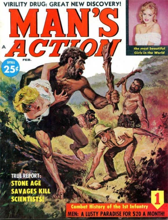 Man's Action, Feb. 1960. Cover by  Basil Gogos-8x6