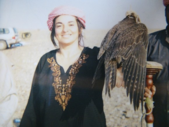 annie in pakistan with falcon