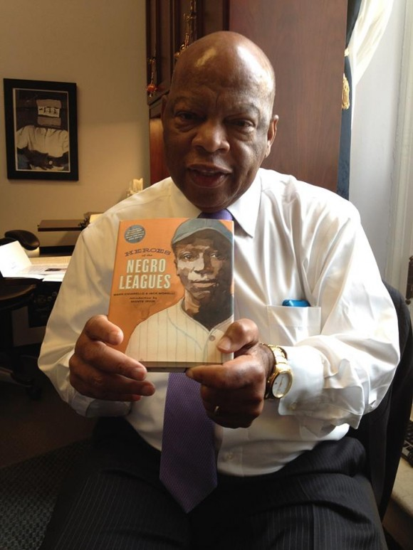 Congressman John Lewis with Chiarello's book about the Negro Leagues