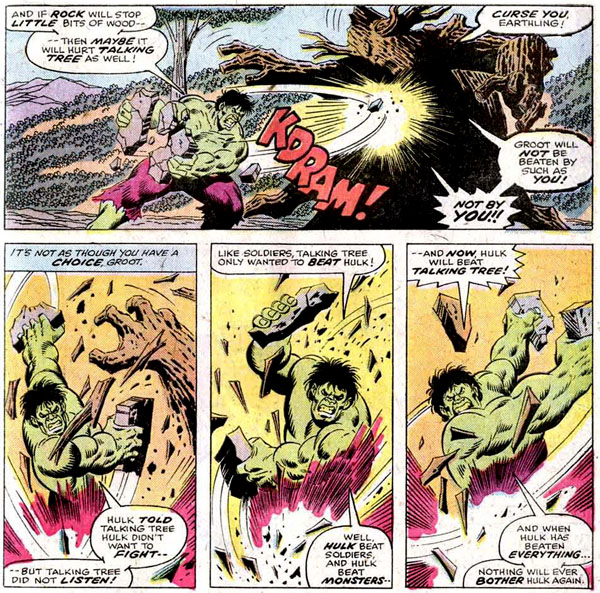 panels from The Incredible Hulk Annual #5 (1976), script by Chris Claremont and Len Wein, art by Sal Buscema and Jack Abel