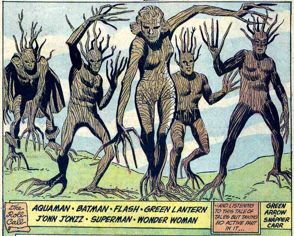 panel from Justice League of America #9 (1962), script by Gardner Fox, pencils by Mike Sekowsky and Bernard Sachs
