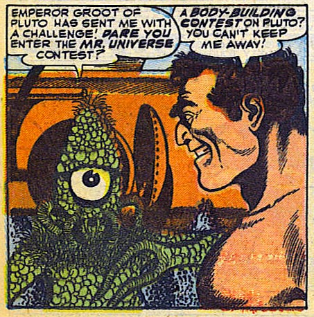 "panel from ""Welcome to Pluto"" in Strange Tales #23 (1953), art by Joe Sinnott"