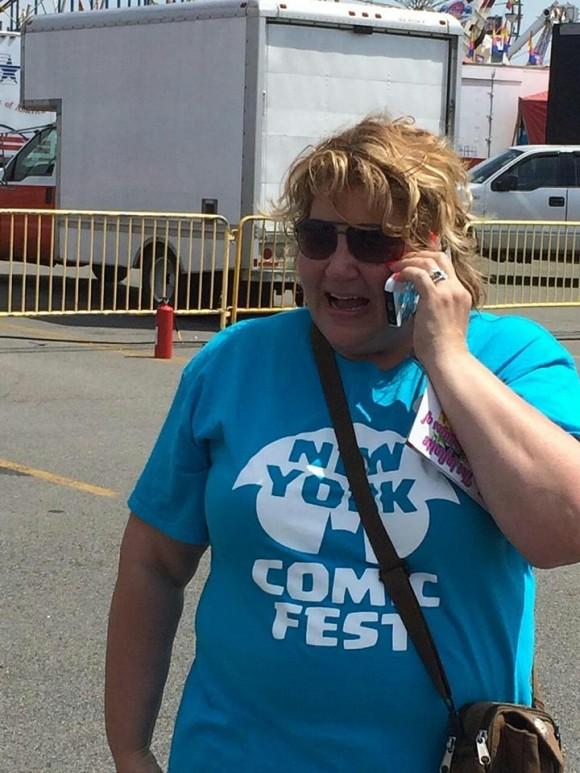Paula on the phone with Julie