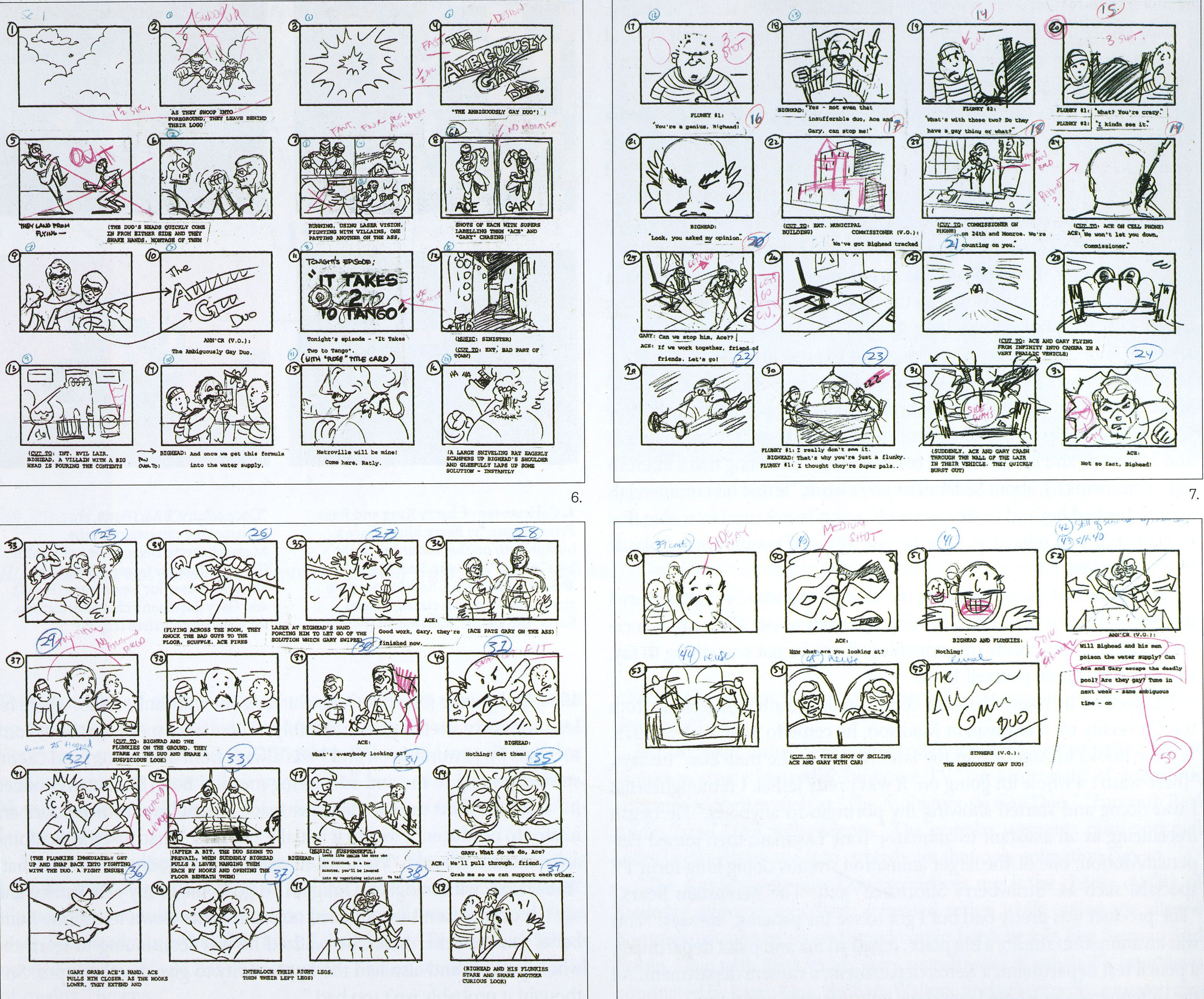 "The rough storyboard Sedelmaier did for the first AGD cartoon, ""It Takes Two To Tango"""