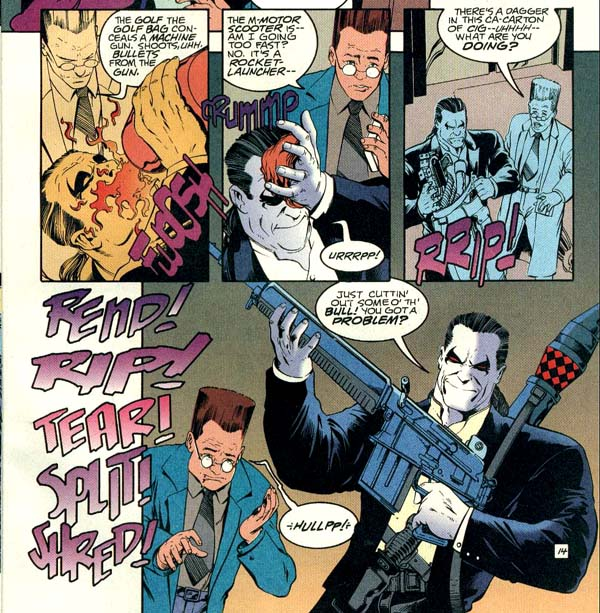 Panels from L.E.G.I.O.N. '94 Annual #5 (1994), script by Tom Peyer, art by Mike McKone and Wayne Faucher