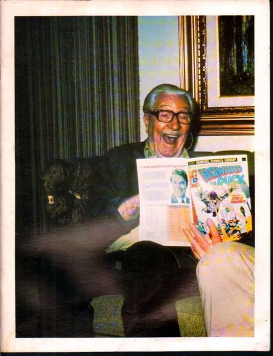 A man who knew a thing or two about funny duck comics -- Carl Barks reading Howard the Duck.