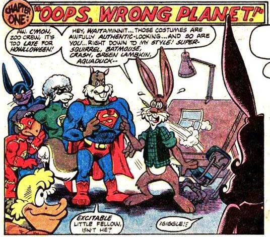 Panel from Captain Carrot and His Amazing Zoo Crew! #14 (1983), plot by E. Nelson Bridwell, script by Scott Shaw!, art by Scott Shaw!, Al Gordon, and Carol Lay