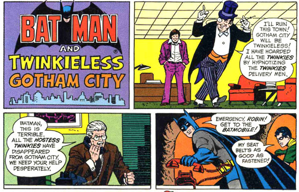 "Panel from Hostess ad ""Twinkieless Gotham City"" in The Flash #241 (1976), art by Curt Swan and Vince Colletta"