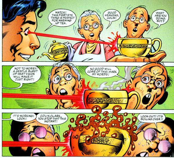 "Panels from Superman: True Brit graphic novel (2004), script by John Cleese and Kim ""Howard"" Johnson, art by John Byrne and Mark Farmer"