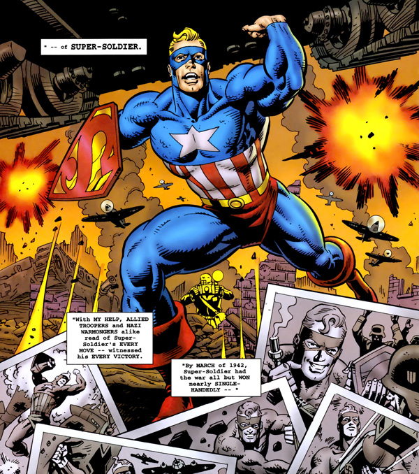 Panel from Super-Soldier #1 (1996), co-plot and script by Mark Waid, co-plot and art by Dave Gibbons