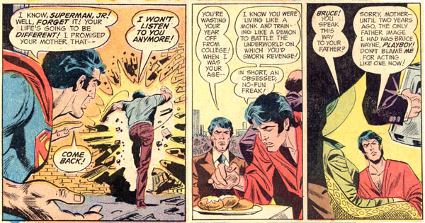 Panels from World's Finest Comics #215 (1972), script by Bob Haney, art by Dick Dillin and Henry Scarpelli