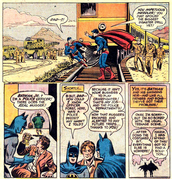 Panels from World's Finest Comics #230 (1975), script by Bob Haney, art by Curt Swan and Tex Blaisdell