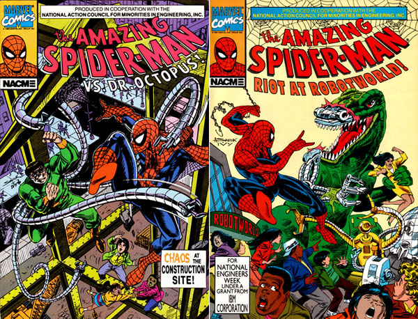 covers of The Amazing Spider-Man NACME Series #1-2 (1990-1991), art by Alex Saviuk and Chris Ivy