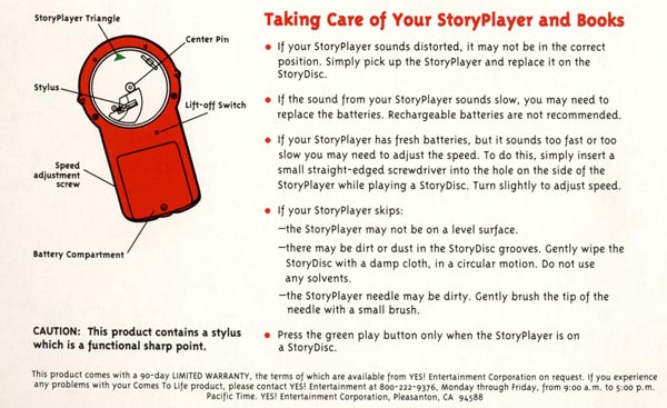 StoryPlayer instructions from Spider-Man: Chase for the Blue Tiger (1995)