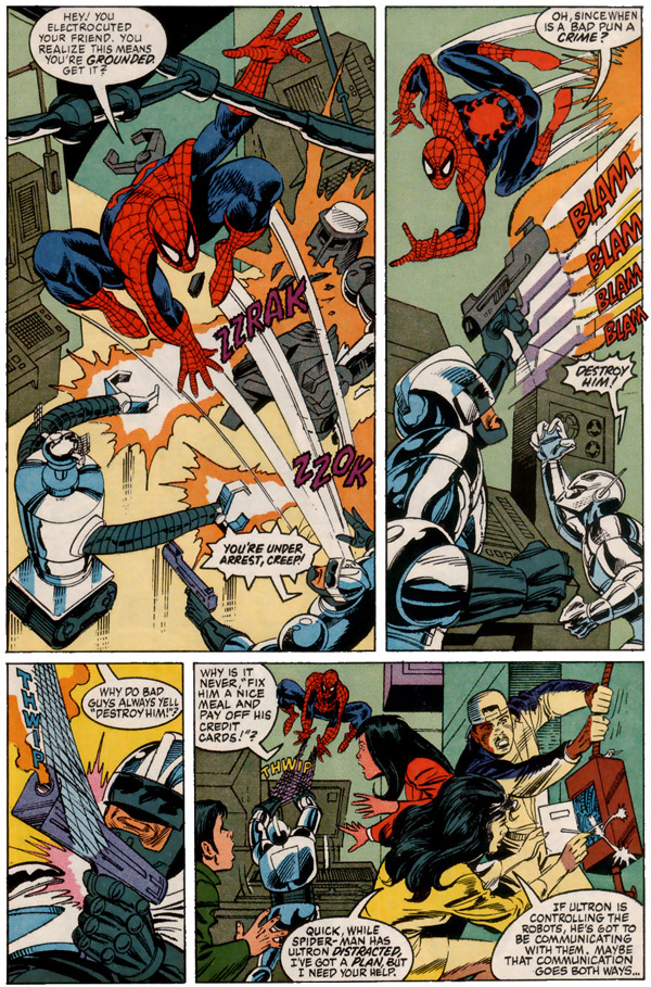 from The Amazing Spider-Man NACME Series #2 (1991), script by Dwayne McDuffie, art by Alex Saviuk and Chris Ivy