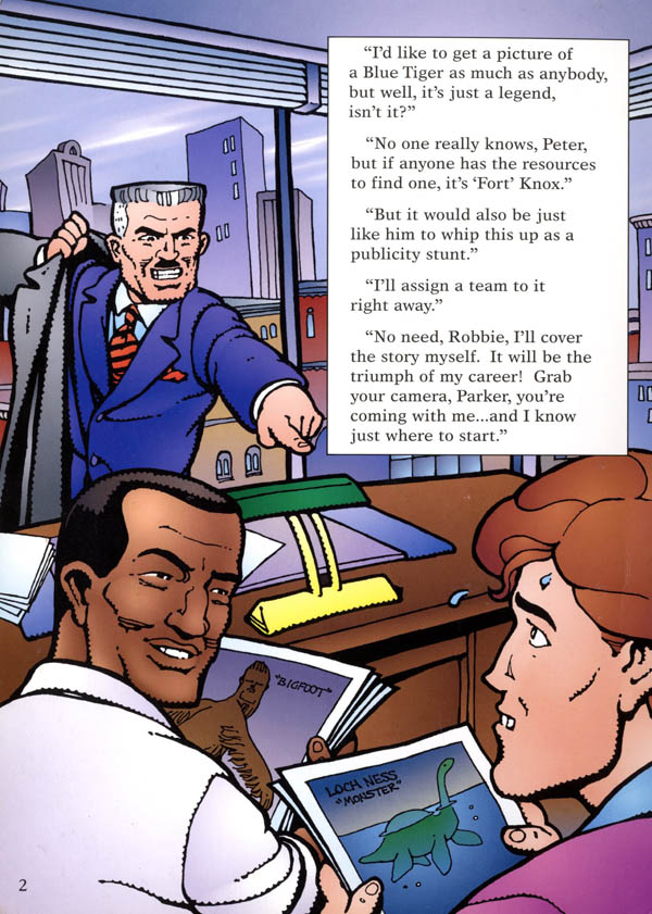 from Spider-Man: Chase for the Blue Tiger (1995), written and illustrated by Rick Geary