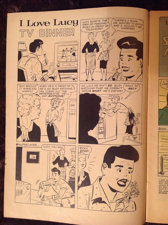 Front page Jughead-style gag.  Note Ricky's weird pompadour and black lipstick.  I don't care, I'm calling it lipstick.
