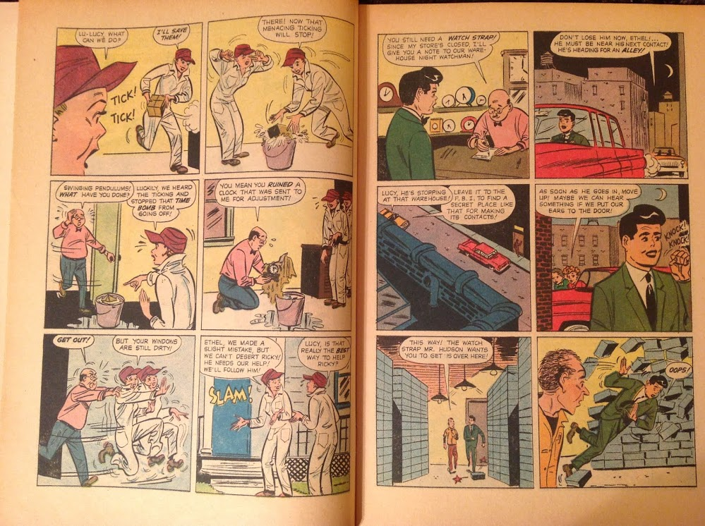 Windows, ha!  Page 2: That's some customer service, sending a guy to the warehouse at night with a note.  Also, how many watch straps do they have?!  And lastly, that damned pompadour and black lipstick just freakin' bother me.  It's like he got shoe polish all over the place.