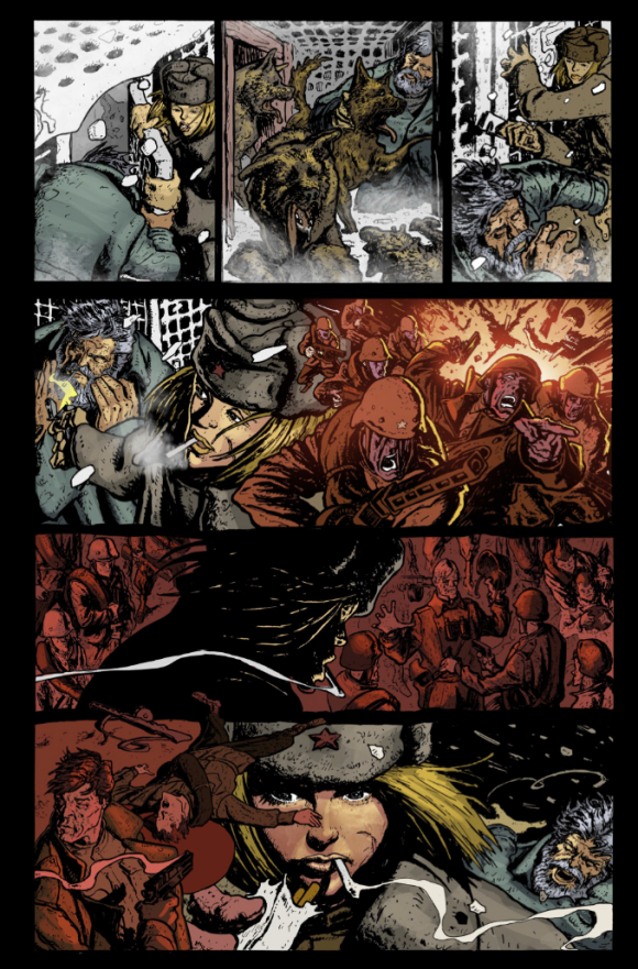 A page from Justin Gray's Red Dog Army. Art by Rafa Garres.