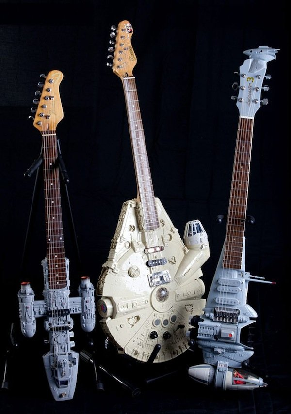 Millenium Falcon, Y-Wing, and B-Wing guitars.
