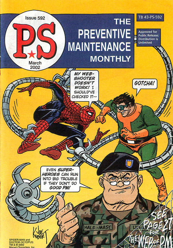 Cover of PS, The Preventative Maintenance Monthly #592 (March 2002), art by Joe Kubert