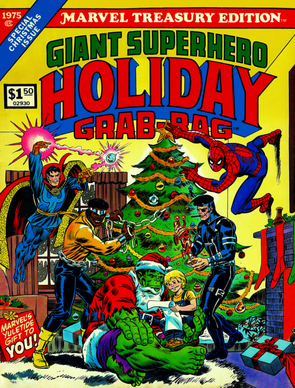 I love that Nick Fury is hanging out under the Christmas tree. Watch out with that cigar!